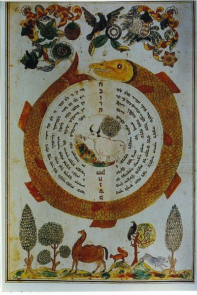 "Illuminated page from the pinkas (""minutes"") books of the Mishnah Society of the Apter Rov's kloyz, Medzhybizh, circa 1840."