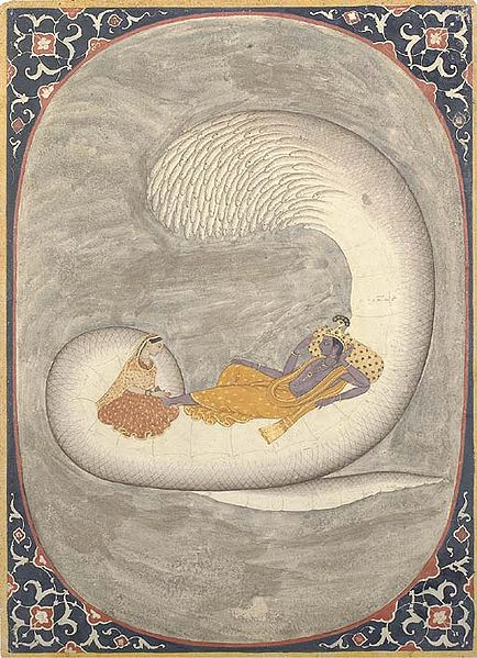 Vishnu resting on Ananta-Sesha, with Lakshmi massaging His feet. 17th century